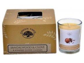 Green Tree Sandalwood & Clove Votivní vonné svíčky Dárkové balení, 4 ks