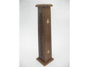 Mani Bhadra Stojánek na vonné tyčinky dřevěný Věž se symbolem Buddha, 30 x 6 cm