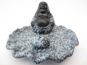 Mani Bhadra Stojánek na vonné tyčinky Černý čínský Buddha šedý Lotos