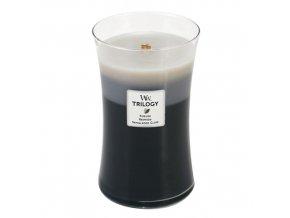 WoodWick Trilogy Warm Woods Vonná svíčka s dřevěným knotem, 609,5 g