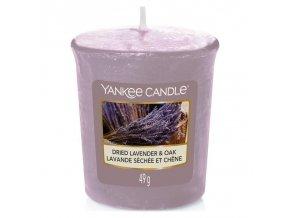 Yankee Candle Votivní vonná svíčka Dried Lavender & Oak (Sušená levandule a dub), 49 g