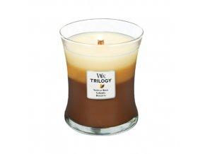 WoodWick Trilogy Cafe Sweets (Dezert v kavárně) Vonná svíčka s dřevěným knotem, 275 g