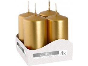 Bispol Adventní svíčka válec Zlatá, 40 x 80 mm, 4 ks