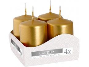 Bispol Adventní svíčka válec Zlatá, 40 x 60 mm, 4 ks