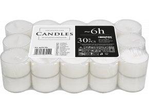 Bispol Čajové svíčky bez parfemace v plastovém kalíšku, 6 hod. x 30 ks