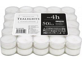 Bispol Čajové svíčky bez parfemace v plastovém kalíšku, 4 hod. x 50 ks