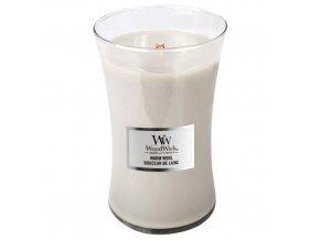 WoodWick Warm Wool Vonná svíčka s dřevěným knotem, 609,5 g