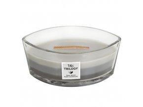 WoodWick Trilogy Warm Woods Vonná svíčka loď s dřevěným knotem, 453,6 g