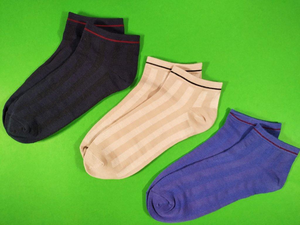 3 PÁRY - Bambusové ZDRAVOTNÍ kotníkové ponožky B2C 43-47