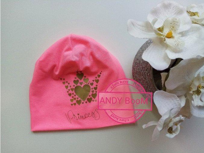 čepice  pink korunka princess