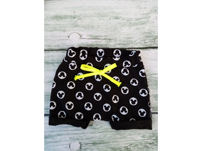 kratase baggy Mickey černé - mašle neo žlutá