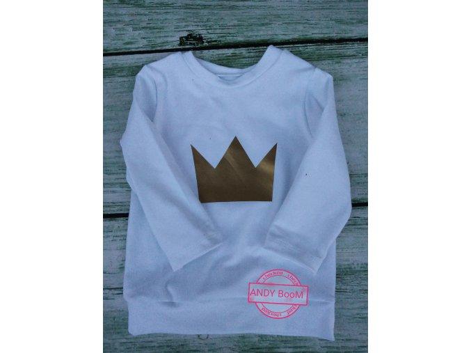 tričko bílé korunka zlatá