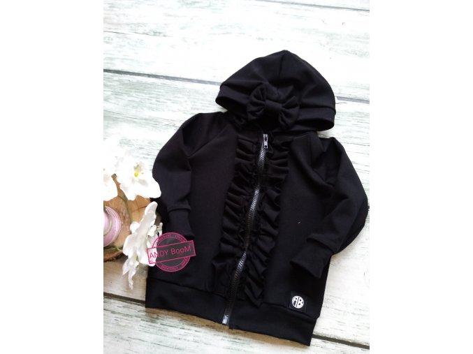 mikina černá s volánky okolo zipu