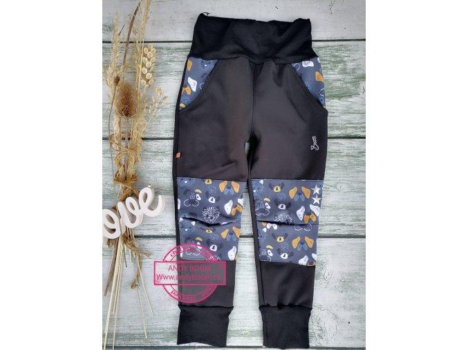Soft kalhoty černé/pejsci - rostoucí