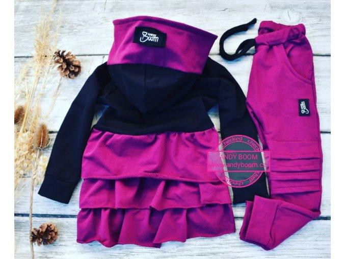 Mikina/kabátek ostružinová s volanky
