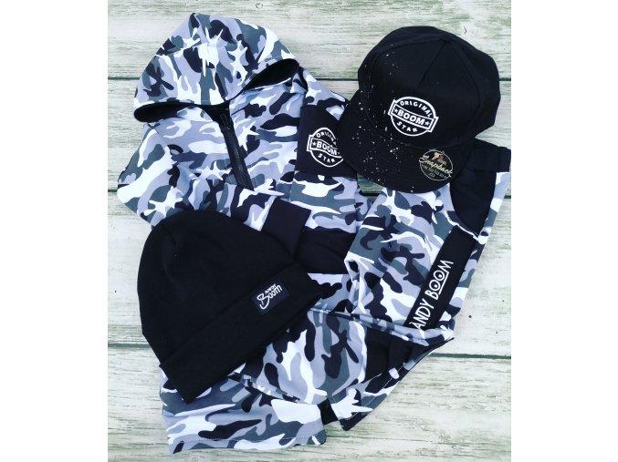 mikina/kabátek army Black & white