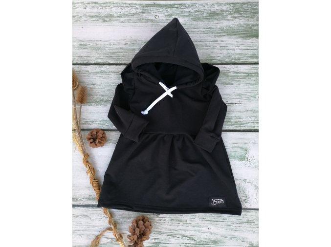 Mikinové šaty Black s kapucí