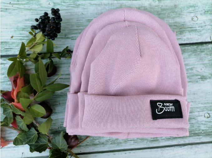 čepice žebro světle růžová