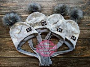Zimni čepice ušanka hvezdy na šedé