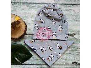čepice pandy na šedé