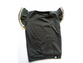 tričko khaki s volánky a krajkou