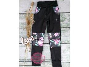 Soft kalhoty černé/květ - rostoucí