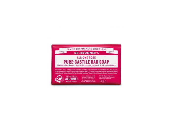 drbronners pure castile bar soap rose tuhe kastilske mydlo ruzove