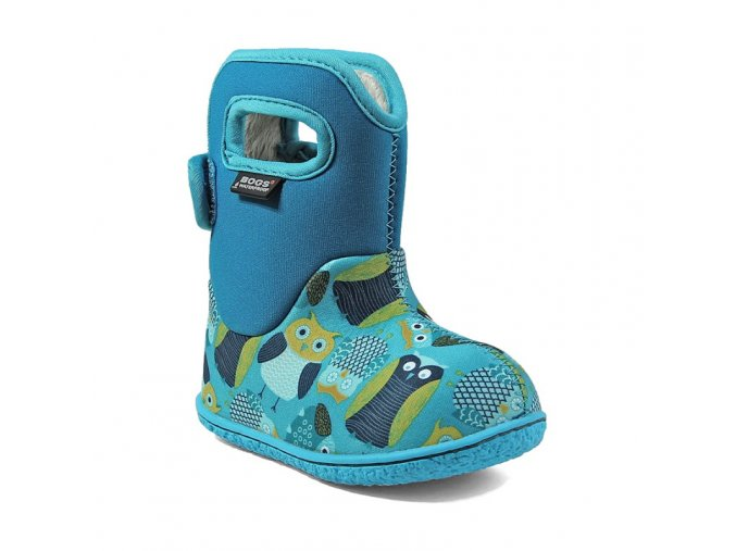 zimni boty baby bogs classic owls blue multi bogs