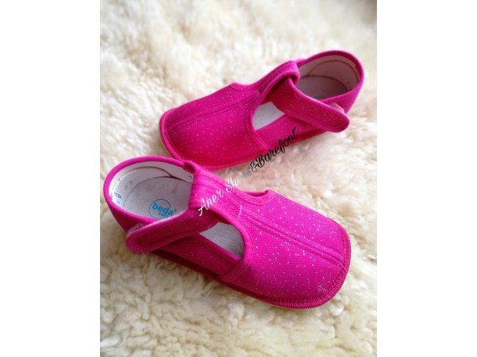 Beda barefoot papuče užší ruzova trpytka 2