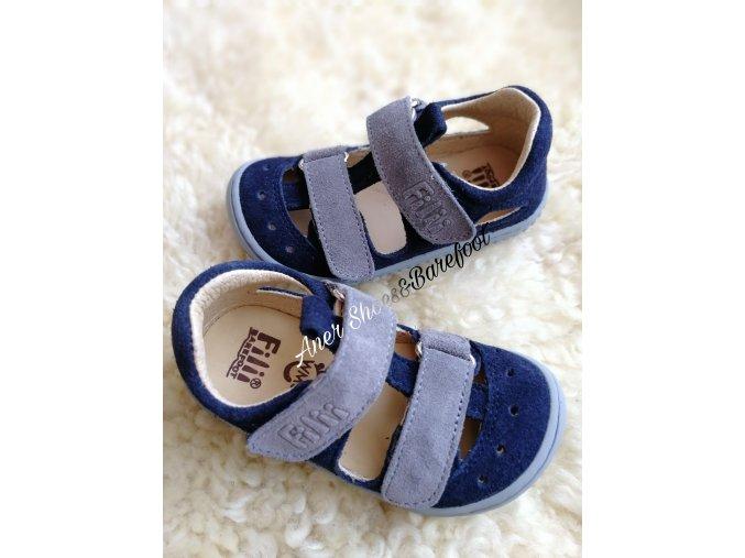 Filii barefoot sandalky Kaiman velcro blue grey
