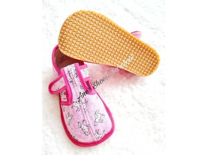 Beda barefoot papuce uzsi ruzovy konik