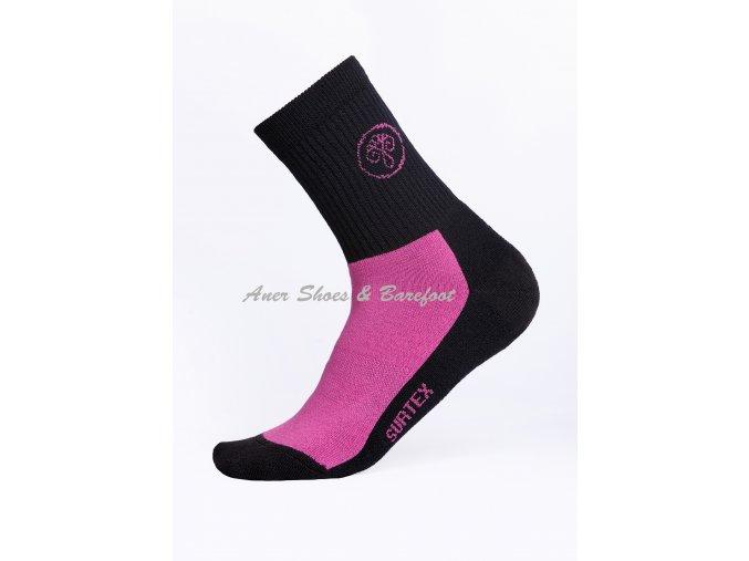 Surtex ponožky 80% Aerobic Merino dospělé - růžová/černá