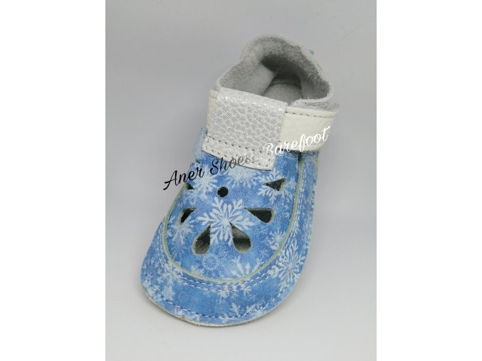 Baby Bare Shoes Top Stitch Snowflakes Frozen