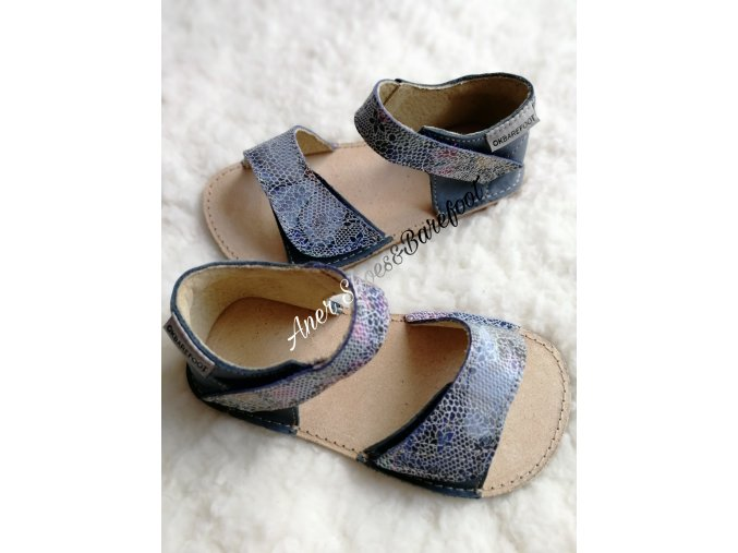 OKBarefoot sandálky Mirrisa G - modrá/květy