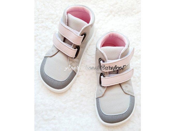 Baby Bare celorocni boty barefoot Fall Grey Pink