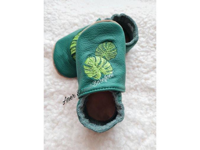 Babice kožené caůáčky tmave zelena list barefoot