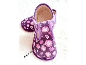 Beda barefoot papučky fialové kvítko