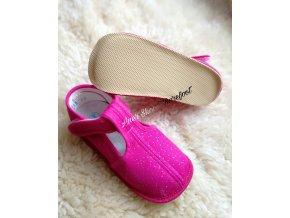Beda barefoot papuče užší ruzova trpytka