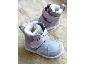 Baby Bare Shoes Winter grey pink 1
