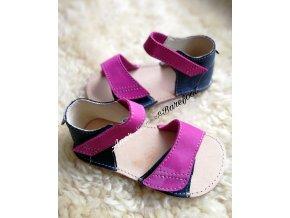 sandálky Orto+ barefoot BFD203 navy pink b07.03.48