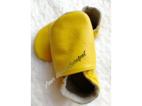baBice barefoot kožené capáčky žluté