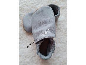 Babice kožené caůáčky světle šedé barefoot