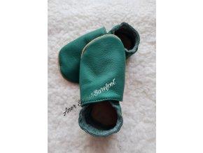 Babice kožené caůáčky světle tmave zelene barefoot