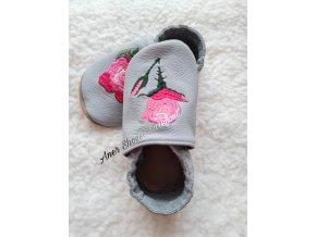 Babice kožené caůáčky světle šedé ruze barefoot