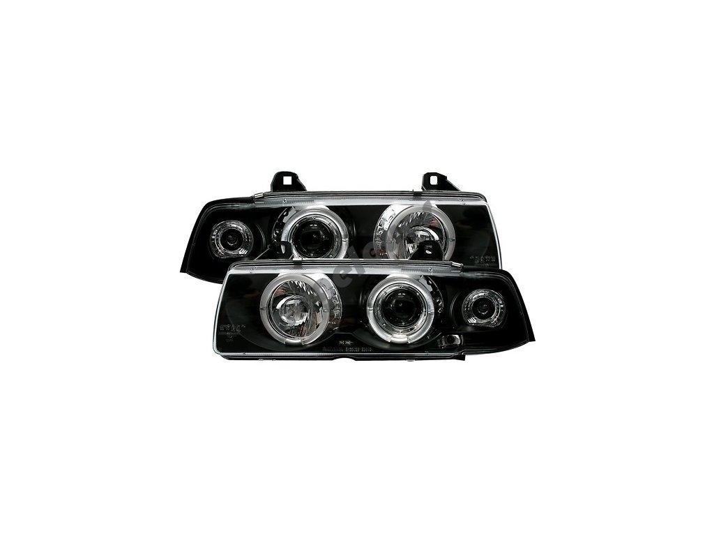 BMW E36 predné čierne svetlá Angel Eyes Limuzína, Touring,...