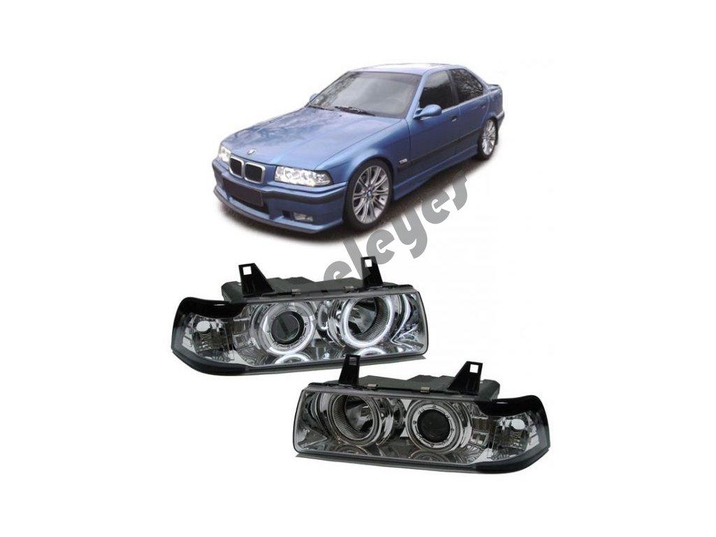 BMW E36 predné chrómové svetlá Angel Eyes CCFL...