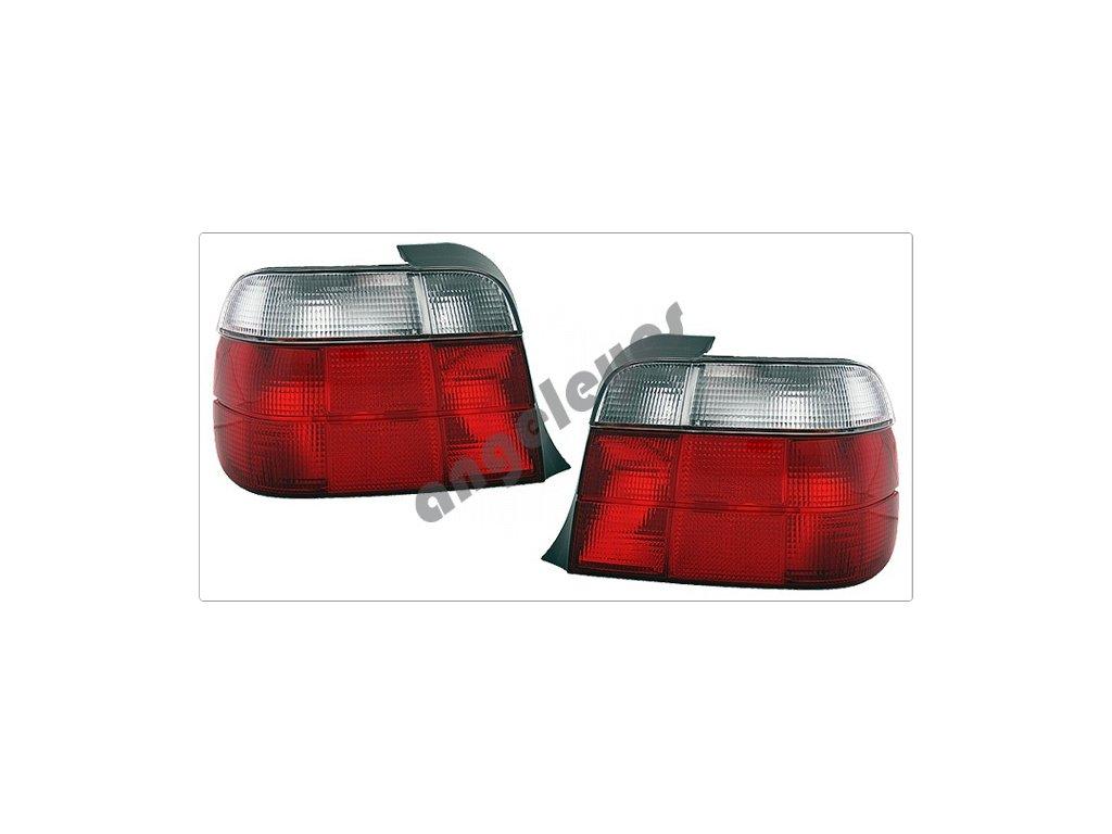 BMW E36 Compact zadné svetlá červeno biele
