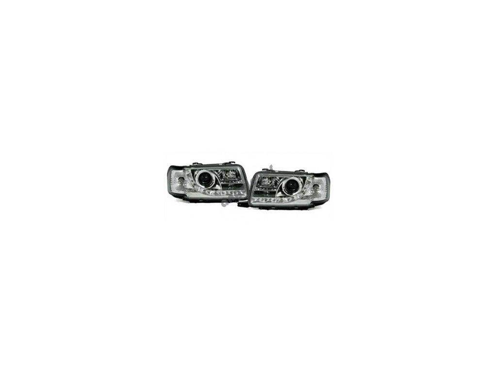 Predné svetlá s LED pásom pre Audi 80 chrómové