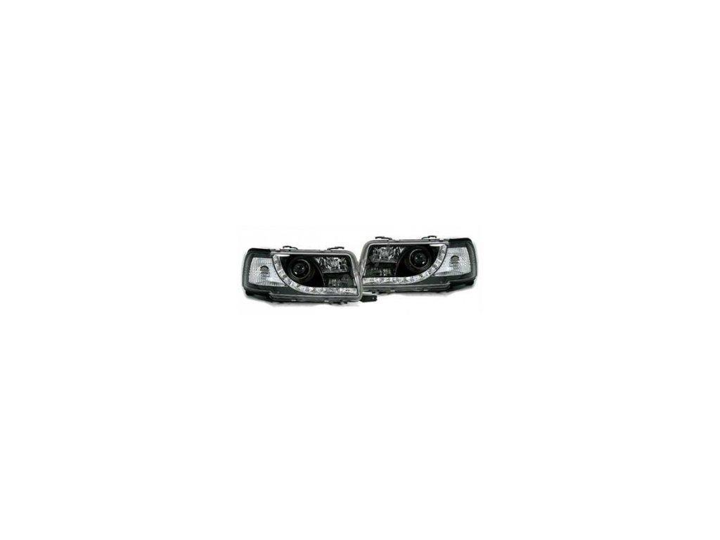 Predné svetlá s LED pásom pre Audi 80 čierne