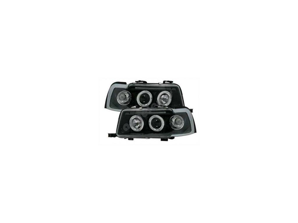 Predné svetlá ANGEL EYES čierne Audi 80
